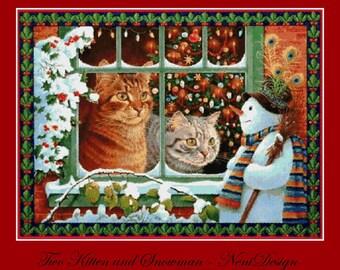 cross stitch pattern, cross stitch, Two Kitten and Snowmand - NeniDesign - PDF pattern - instant download!