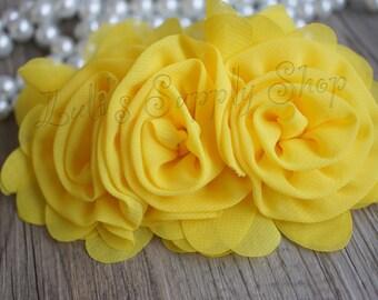 "3"" Yellow Chiffon Ruffle Flowers - Yellow Fabric Roses - Large Fabric Flower - Wholesale Chiffon Flower - Fabric Flower - Headband Supplies"