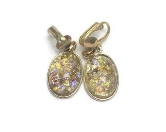 Amber Confetti Lucite Dangle Earrings, Vintage Clip Earrings, Drop Earrings, Costume Jewelry
