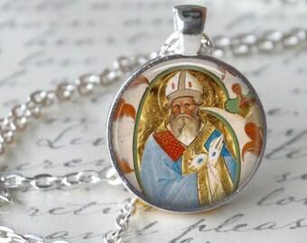St Blaise Necklace Saint Pendant Necklace Art Handmade Pendant Jewelry Necklace Christmas Necklace
