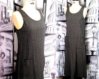 70s Black & White Tartan Maxi Dress -  Lightweight Summer Choice - Norm Thompson, Portland Oregon