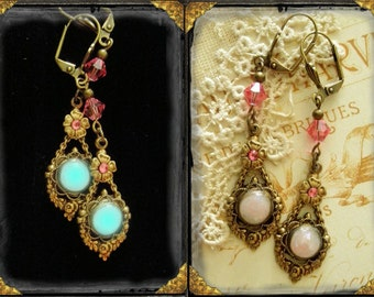 "Glow in the dark enchanted earrings ""Whisper Pink - Captured Moonlight"" elegant, romantic, Victorian, Gothic, Steam Punk, Renaissance"
