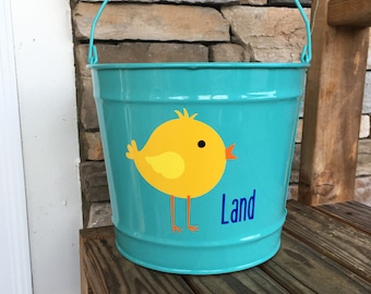 10 Quart Personalized Easter Bucket; Personalized Easter Bucket; Easter Chick Bucket