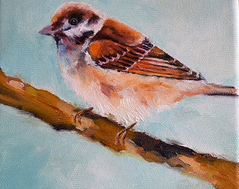 Original Impressionist Oil Bird Painting, Sparrow Oil Painting 6x6 Inch