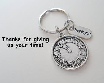 Volunteer Appreciation Gift Keychain, Clock Charm, Volunteer Gift, Employee Gift, Coworker Gift, Work Team Gift, Thank You Gift Teacher Gift