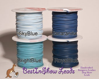3mm Kangaroo Leather lace BLUES,  sold by the yard