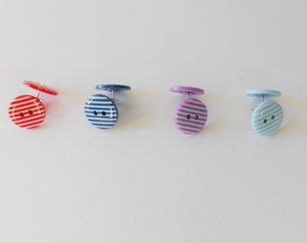 Striped Earrings, Fun Buttons, Quirky Gifts for Girls,  Original Jewellery, Bright Coloured Accessory, awesome Holiday basket ideas