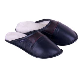 """Sheepskin Slippers, """"2-Color All-Purpose Leather  Mules -Navy"""""""