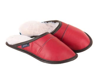 """Sheepskin Slippers, """"2-Color All-Purpose Leather  Mules -Red"""""""