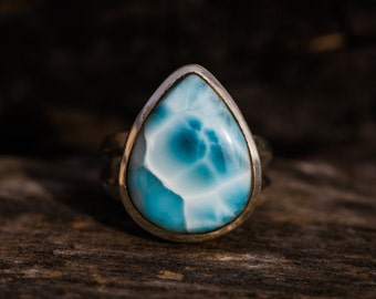 Larimar Ring Size 8.5 Larimar Ring -  Sterling Silver and Larimar ring - Genuine Larimar - Larimar Ring  - Larimar Jewelry