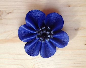 Flower brooch leather // Leather floral pin // marriage flower