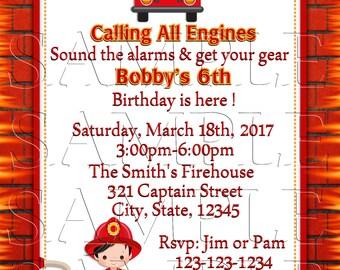 Fireman Birthday Invite, Announcements, Personalized, DIY Printable,Boy,Digital Invite,Firefighter,Fire Truck