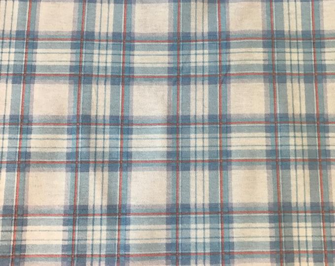 Light Blue & White Plaid Argyle Cotton Knit Fabric