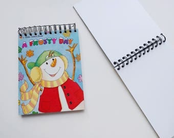 A Frosty Day Snowman Little Golden Book Upcycled Sketchbook Notebook, Drawing Pad