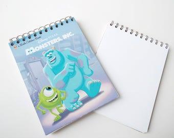 Disney Pixar Monsters Inc Little Golden Book Upcycled Sketchbook Notebook, Drawing Pad