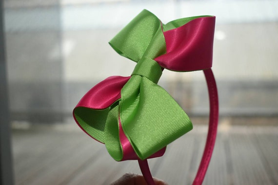 Spring Green and Fuchsia Hair Bow - Girls / Kids Hairband / Headband / barrette / Hair clip / Aliceband