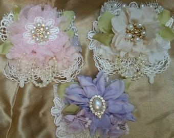 Diy, Wrist Cuff Corsage KITS Wedding, Prom, Easter, pink, beige  lavender.  Not a finished product. see youtube for tutorial
