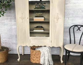 AVAILABLE: Off-White Painted Cabinet / Bookshelf