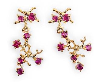 REEF Gold Ruby Earrings, Gemstone Earrings, Post Dangle Earrings Gold, Unique Ruby Dangles, Gift for Wife, Gift for Women
