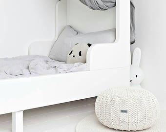 Ecru floor pouf ottoman knitted pouf knit pouf nursery decor, knitted ottoman footstool nursery pouffe baby pouffe ZURI