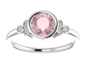 Pink Morganite Diamond Ring, 14K, 18K, or Platinum