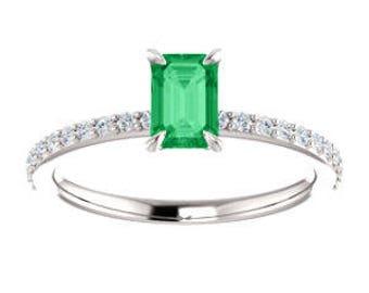 Custom for G, Emerald Diamond 14K White Gold Ring, Size 6