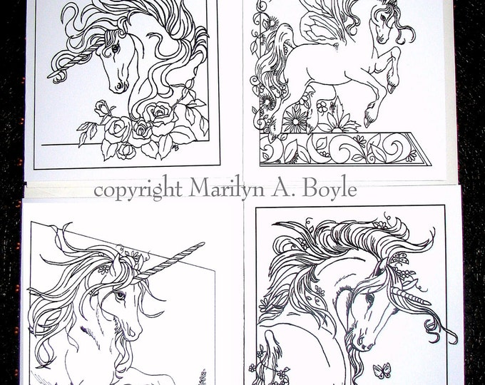 CARDS for COLORING - FANTASY; set of four cards, unicorns, pen and ink, approximately 5 x 6.25 with envelopes