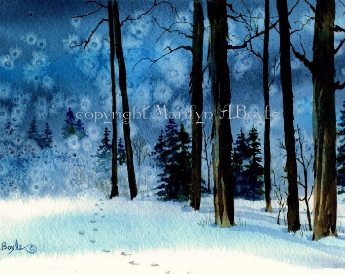 WATERCOLOR ORIGINAL - FOREST; winter, landscape, trees, snow, wall art, Canadian art, 6.50 x 10.50 inches