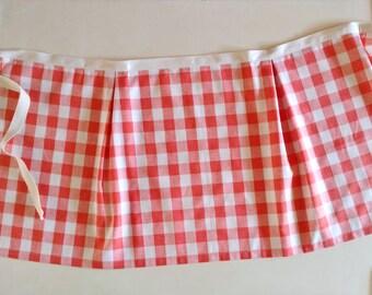 Checked Cotton Apron / Women's Apron / Kitchen / Hostess / Peach and White