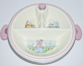 Vintage Baby Pink Nursery Rhyme Divided Warming Dish Cat Dog Lamb