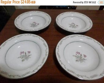Save 25% Now Set of Four Vintage Noritake China Bryce Pattern 5608 7 3/4 Inch Soup Bowls New Condition