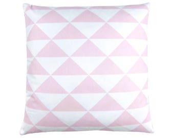 Cushion cover dimension triangles pink graphically Scandinavian white 50 x 50 cm