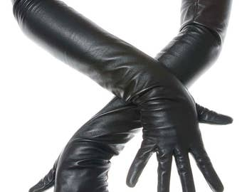 Long Black Opera Leather Gloves