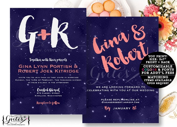 Navy and coral wedding invitation, coral and blue invitations, customizable invites, digital printable template, double side. {You Print}
