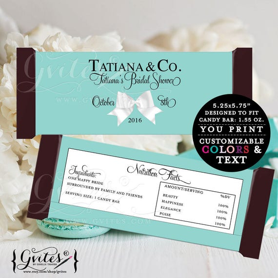 Customizable Bride and Co candy wrappers, chocolate bar candy labels, favors gifts, white bow blue themed party printables, 2-Per/Sheet