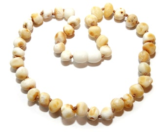 Genuine Natural Raw Baltic Amber Teething Necklace for Baby 7.2 g Butter White Baroque Beads Unpolished