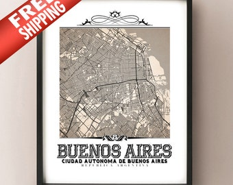 Buenos Aires Vintage Style Sepia Map Art Print - Buenos Aires, Argentina City Map Decor