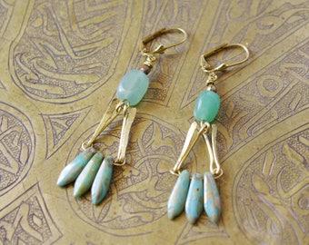 Art deco turquoise - brass and aventurine - Brass earrings earrings