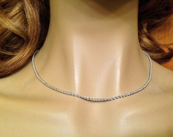 "SALE- 14k 585 White Gold Twisted Rope Chain- 18""- Italy"