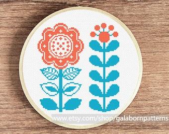 Flowers cross stitch pattern pdf, instant download, modern cross stitch, floral cross stitch, Scandi nursery, Scandinavian, easy beginners