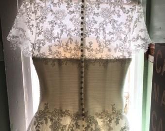 ivory tulle wedding dress   vintage inspired bridal dress   Bridal with sleeves