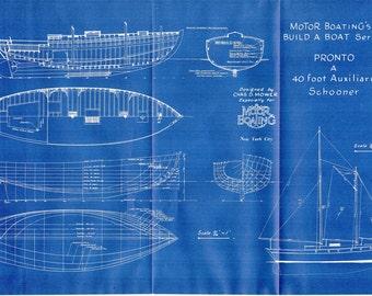 Antique Blueprint Vintage Ship Blueprint c.1940s Boat Sailing Auxiliary Schooner Nautical Art Urban Industrial Decor