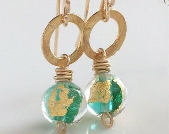 Green Venetian Glass Earrings / Gold Vermeil Earrings / Murano Glass / 14K Gold Filled Earrings / Green and Gold / Small Dangle Earrings