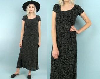 90s Black Maxi Dress With Tiny White Polka Dots, Size Small Medium, Slinky and Stretchy, Speckled, Minimalist, Scoop Neck, Grunge, Long