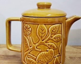 Vintage / Bird motif ceramic teapot / Japan