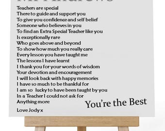 Teacher Poem Wooden Plaque & Stand