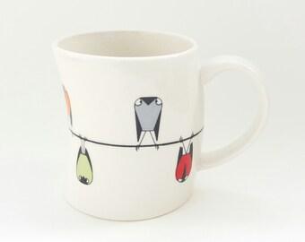 Porcelain Cup, Sparrows Decoration, Handmade Cup, Modern Porcelain Mug for Coffee, Tea Cup, Artistic Porcelain Mug