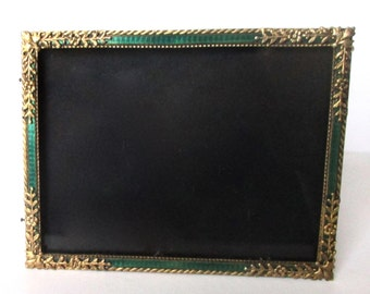 Antique Brass & Enamel Photo Frame