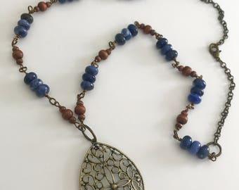 Long Layering Beaded Mandala Necklace Blue