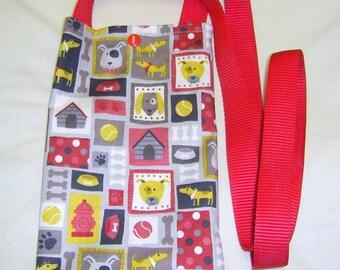 Dog Walking bag, Dog Treat Bag, long handle bag, across body bag, dog fabric, Dog training bag, Gift for Dog Owner, Dog walker Gift,